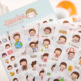Wholesale Wholesale Diary For Girls - Wholesale- 6pcs lot Korea Style PVC momoi girl Sticker Kawaii DIY Scrapbook Diary Phone Decoration Paper Sticker for Kids Gifts