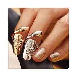 Wholesale Ring Finger Nail Designs - Exquisite Nail Rings Cute Retro Queen Dragonfly Design Rhinestone Plum Snake Gold Silver Ring Finger Nail Rings For Women Gift Free Shipping