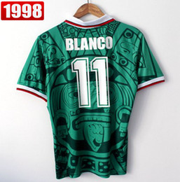 Wholesale Retro S - Best Thailand Quality Retro Version 1998 Mexico World Cup Classic Vintage Mexico retro jersey Home Green HERNANDEZ BLANCO 11# football shirt