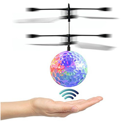 Wholesale Induction Control Rc Helicopter - Kid and Boy Toys RC Flying Ball Infrared Induction Helicopter Ball With Rainbow LED Lights Remote Control For Children Flying Toys HH-T56