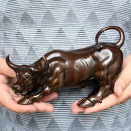 Touro grande on-line-Estátua de Big Wall Street Bronze feroz Bull OX 8 polegadas