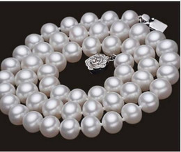 Wholesale Natural Pearl Silver Plated - Woman Necklace 9-10mm White Pearl Natural Freshwater Pearl Choker 45cm\18inch