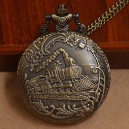 Wholesale Old Watches Necklaces - Wholesale-Retro Decorative Bronze Quartz Pocket Watch Old Train Men Women Necklace Chain Pendant Gift Watch P045