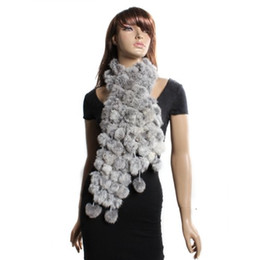 Wholesale Gray Fur Shawl - Wholesale- 2016 Hot Style Rabbit Fur Soft Winter Wear Collar Neck Warmer Scarf Shawl Gray