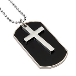 Wholesale Ceramic Necklace Men - Fashion Design Jewelry Charms Mens Cross Dog Tag Pendant Necklaces For Men Military Card 27inch Beads Chain Hip Hop Men Necklace
