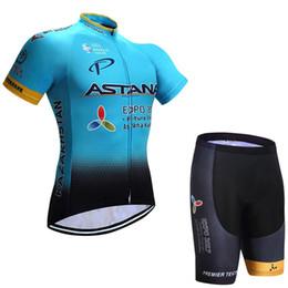 Wholesale Astana Cycling Team - 2017 pro team astana cycling jerseys short sleeve summer Quick-Dry Racing Bicycle ropa ciclismo cycling clothing GEL bib pant