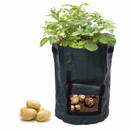 2019 il giardinaggio coltiva il sacchetto all'ingrosso Sacco di patate Sacchetti PE Giardino familiare Balcone Vasi da giardino di ortaggi biologici Patate Fioriere Grow Bag 50pcs / lot