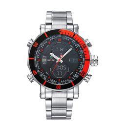 Wholesale Weide Watches Men - 2017 WEIDE Brand Men Sports Watches Waterproof Military Quartz Digital Watch Alarm Stopwatch Dual Time Zones Relogios masculinos