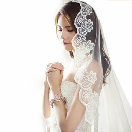 Wholesale Mantilla Ivory Veil Cathedral - Free Shipping mantilla cathedral White Ivory Bridal Veil Real Image Bridal Accessory