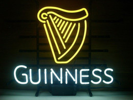 "Wholesale Guinness Pub Sign - GUINNESS IRISH LAGER ALE HARP NEON SIGN GLASS TUBE LIGHT BEER BAR PUB CUSTOM HANDCRAFTED NEON 17""X14"""