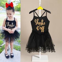 Wholesale Girls Black Pants Suspenders - Girls Black Lace Slipdress Dacing pants dress Letters printing performance costume Baby Ballet tutu dress