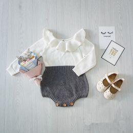 Wholesale New Girls Romper - NEW 2017 Autumn Toddler Baby Girl Clothings Ruffles Princess Girl Sweet Knitted Overalls Infant Romper