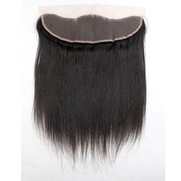 Wholesale Cambodian Baby Hair - Brazilian Straight Lace Frontal Closure Malaysian Indian Peruvian Cambodian Unprocessed Virgin Human Hair Closures 13x4 Size With Baby Hair