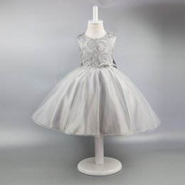 Wholesale Kids Gray Pleated Skirt - Kids Girls Dresses Wedding Dress Sleeveless Lace Backless Tutu Skirt High Quality Summer Party Children Clothing