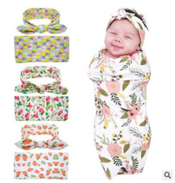 Wholesale Hospital Setting - Newborn Swaddle Blanket headwrap Hospital Swaddled Set Floral baby swaddle photo prop Top knots Watercolour Geometric