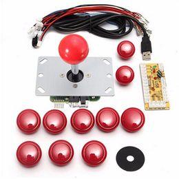 Placas de arcada on-line-Diy Lidar Com Conjunto de Arcade Kits 5 Pinos Joystick 24mm / 30mm Botões de Pressão Peças de Reposição Cabo USB Encoder Board Para PC JoystickButton