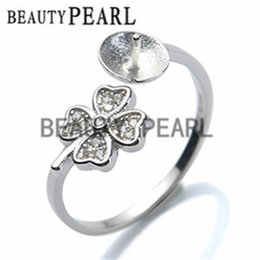 Wholesale Silver Leafs Wholesale - 5 pieces Wholesale Ring Findings 925 Sterling Silver DIY Jewelry Making Four Leaf Clover Ring Mount
