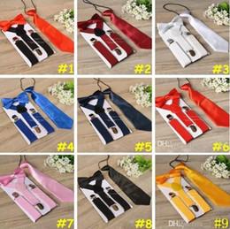 Wholesale Children Cloths For Boys - Children Suspenders 3pcs Set Kids Student Braces bow tie Set Bowtie Toddler Solid Color Cloth Set For Boys Girls