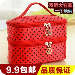 Wholesale cute cosmetic packaging - Wholesale- 2015 Real Bolsa Feminina Waterproof Makeup Bag South Korea Cute Large Capacity Double Layer Of Cosmetic Box - Cosmetics Package
