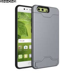 Wholesale Huawei Silicone Case - Shock Proof Armor Hard Phone Case For Huawei P10 P10 Plus P10plus Cover Card Holder Shockproof Shield Soft TPU Silicone Bumber