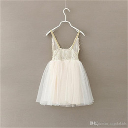 Wholesale Baby Girls Singlet Dress - Girls Dress Kids Clothes Baby Tulle Lace Condole Belt Sequins Princess Dresses Childrens Tutu Singlet Party Spring Summer Clothing