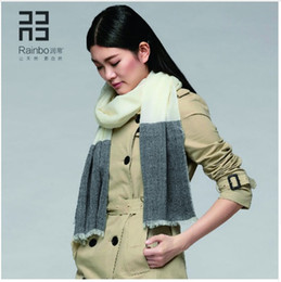 Wholesale Big White Scarf - Rainbo 2016 new style autumn and winter 100S wool Scarf contrast color big pashmina Fashion women general Scarf
