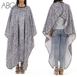 Wholesale Hair Salon Aprons - Zebra-stripe Hairdressing Cape Salon Apron Hair Cutting Colouring Dyeing Perming Cloth Gown Cape Hairdresser Barber Styling Tool