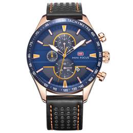 Wholesale Trendy Sport Watch Black - Trendy multi - functional design paragraph leather waterproof men 's watches quartz watch