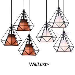 Wholesale Works Suspension - Willlustr diamond shape lamp wrought iron pendant light metal frame fabric Suspension lighting Dinning Room Bar Cafe Restaurant hotel mall