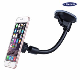 Wholesale universal car mount windshield holder - Long Arm Car Suction Cup Magnetic Windshield Dashboard Mount Holder For iPhone 7 Plus 6s Plus 5s 360 Degree Rotatable with Retail Box
