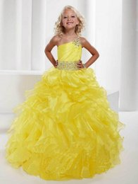 Wholesale Gorgeous Pageant Dresses Junior - Flower Girl Dress 2017 Ball Gowns One Shoulder Organza Crystal Beaded Junior Gorgeous Yellow Grape Kids Pageant