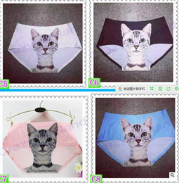katze damen unterwäsche Rabatt Neueste Damen Unterwäsche Nette 3D Katze Höschen Sexy Mittlere Taille Unterwäsche Comfort Briefs Tier Höschen Für Frauen Nylon Höschen