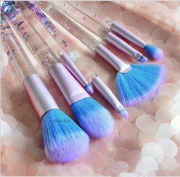 Wholesale Wholesale Crystal Cosmetic Brushes - 2017 New Liquid Flash 7 Set Cosmetic Brush Flow Flash Makeup Brush Fantasy Mermaid palette eyeshadow Crystal makeup brush