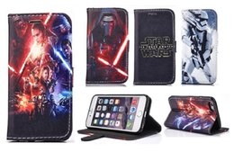 Wholesale Black Case For Iphone 4s - Cartoon Starr wars PU Leather wallet Flip Stand Case Cover Pouch Skin for Apple Iphone 4s 5 5S 6 6S 7 7plus