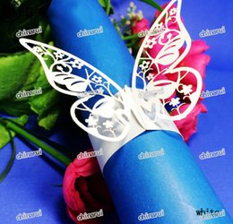 Wholesale Ring Clips For Paper - Wholesale- flower butterfly Paper Napkin Rings Wrap clip towel table Decoration For Wedding Party Event Decors restaurant hotel