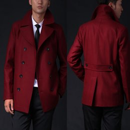 Wholesale Wool Coats For Boys - Wholesale- Size Customize male wool red trenchcoat western high quality grey car coat for men jackets and coats boys fashion pea coat gifts