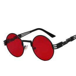 Wholesale Gothic Metal Fashion - Round sunglasses Gothic Steampunk Sunglasses Men Women Metal WrapEyeglasses Shades Brand Designer Sun glasses Mirror High Quality UV400