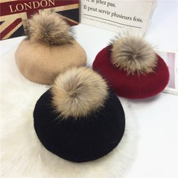 Wholesale Russian Style Hats - Wholesale-winter berets pom poms wool felt hats black hairball cute outdoor sports painter caps red elegant lady Russian fur hat 8 style