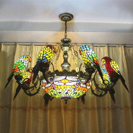 Wholesale Parrot Green Glass - FUMAT Parrots Dragonfly Chandelier European Style Artistic Classical Stained Glass Suspension Light Hanging Lamp Light Fixtures