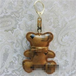 Wholesale Browning Car - NEW arrived Korea mc fashion women accessories cute car key chain bag charm pendant leather bear key ring holder jewelry
