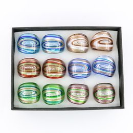 Wholesale Engagement Rings Box Jewelry Gift - New Design Glass Rings Swirl Lampwork Gold Sand Glass Rings for Jewelry Making 12pcs box, MC1013