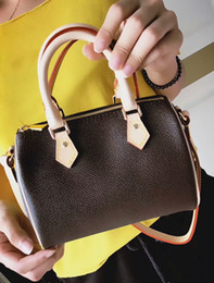 Wholesale Boston Messenger Bags - fashion classic female lu*s brand real genuine leather nano brown flower letter crossbody messenger handbag hot mini cool boston bag