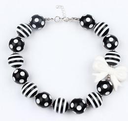 Wholesale Chunky Princess Necklace - Baby Girls black white Beads Necklace kids girl Bubblegum Toddler Jewelry Necklace chunky Princess Necklace jewelry free ship