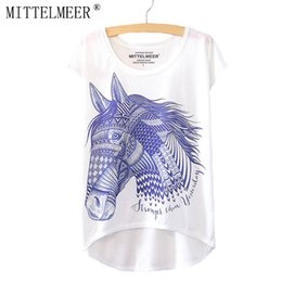 Wholesale Wholesale Horse T Shirts - Wholesale-MITTELMEER New Cotton Polyester T-Shirt Women Short Sleeve t-shirts o-neck Causal loose horse T Shirt Summer tops for women