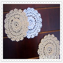 Wholesale wedding flowers pics - Wholesale- Free shipping 20 pic lot 3D lace flowers crochet doilies coasters vase mat placemat for dinning table cup pad wedding decoration