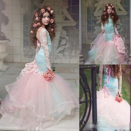 Wholesale Girls Church Dresses - 3D Floral Peplum Ruffles Princess Garden Wedding Dresses 2017 Plunging Neck Church Train Arabic Dubai Modest Lace Organza For Bridal Gowns