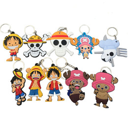 Wholesale One Piece Anime Keychain - DHL Free Shipping Soft PVC Double Sides Cartoon Key Chain Japanese Anime One Piece Keychain For Wholesale