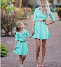 Wholesale Daughter Mother Fashions - Family Matching Outfits mother daughter dresses Summer 2017 Casual Dress mom and Girls knee length short Dress