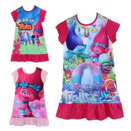 Wholesale Christmas Sleepwear - 2017 New Cartoon Trolls Kids Girls Cheap price High quality 100% cotton fabric dress ruffle sleepwear girls nightgown