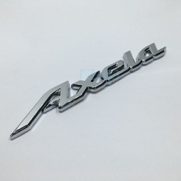 Wholesale Mazdaspeed Badge - 3D Silver Axela Emblem Badge Sticker For Mazda Axela MS3 M6 Mazdaspeed Rx8 Car Rear Trunk Nameplate Decal